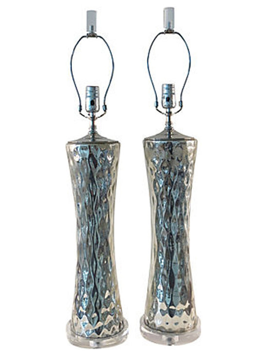 Mercury Glass Regency Lamps - Tall, Dynamic Vintage Mercury Glass Lamps restored with new nickel hardware, Lucite base and wiring. Comes with harp and Lucite finial as shown, no shade. Glass has a deep silver gray patina with natural areas of distress inside glass, indicative of vintage authenticity.