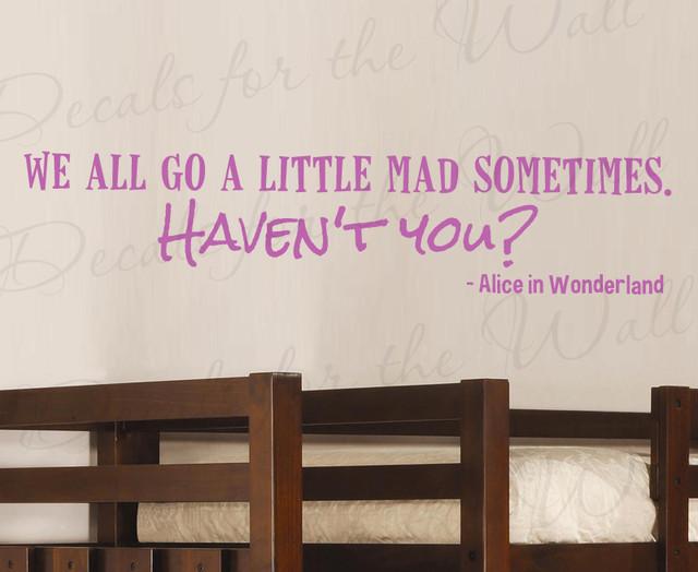 Wall Decal Quote Sticker Vinyl Art Lettering Alice in Wonderland Disney G02 modern-wall-decals