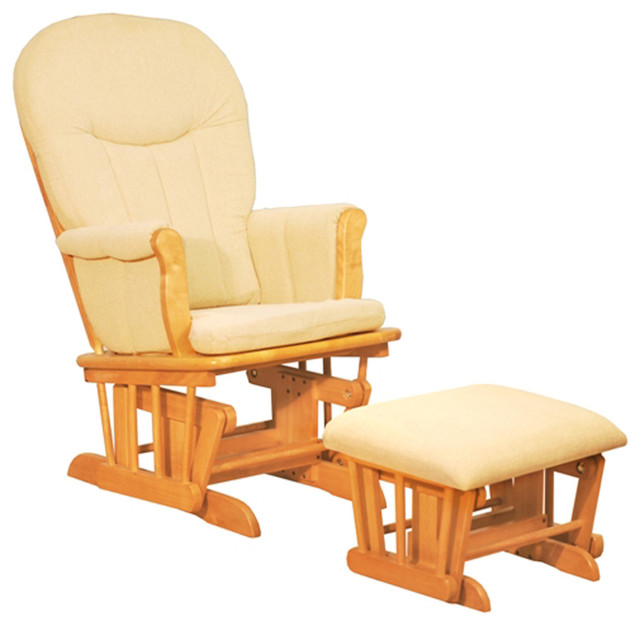 AFG Baby Deluxe Glider Chair with Ottoman in Natural with Dark Beige Cushion - Traditional ...