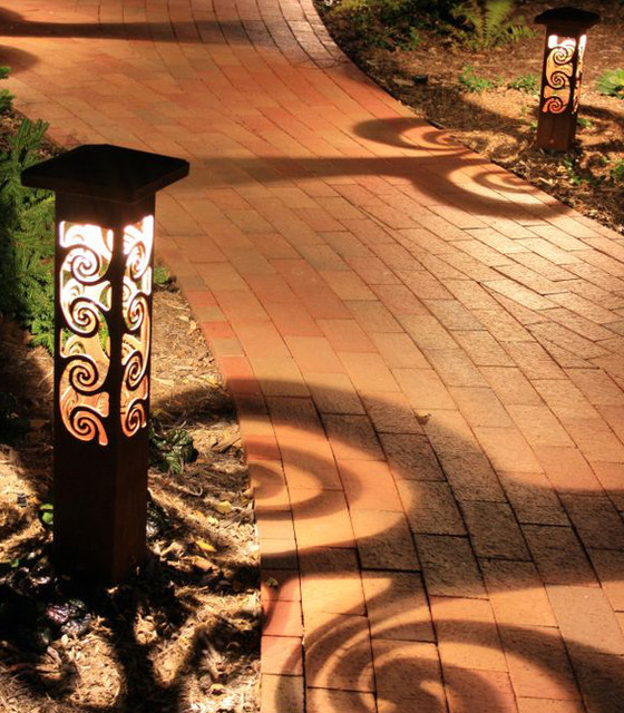 Decorative steel bollard lights contemporary outdoor for Outdoor decorative lights
