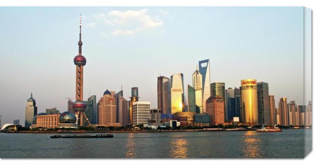 Xiaoyang Liu 'Shanghai Skyline' Stretched Canvas Art contemporary-artwork