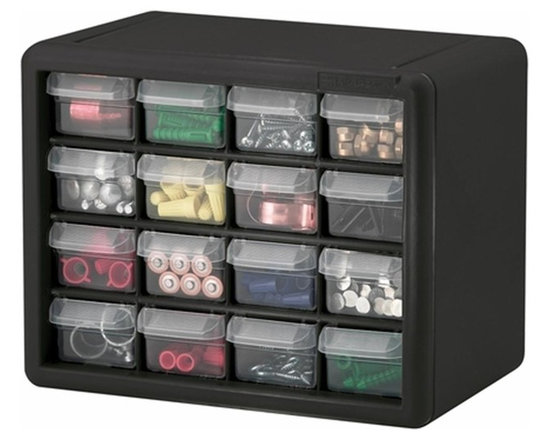 Akro-Mils - 16 Drawer Storage Cabinet- Set of 2 - Cabinet stacks securely and can also be wall mounted with keyhole slots. Clarified polypropylene, dividable drawers offer easy content identification. Finger-grip drawer pulls provide easy access and rear stop tabs prevent contents from spilling. Optimize storage space and improve parts protection.