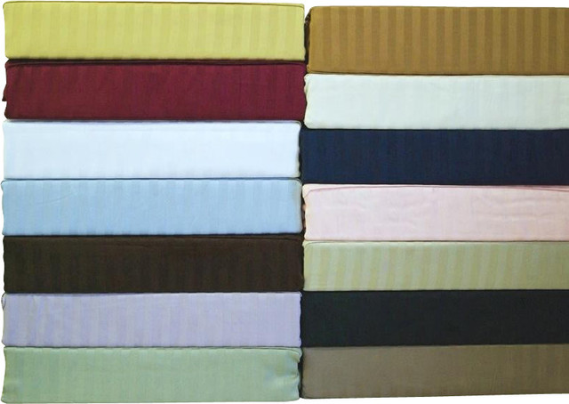 330TC Super Single Stripe Pole Attachment Waterbed Sheet Set traditional-sheets
