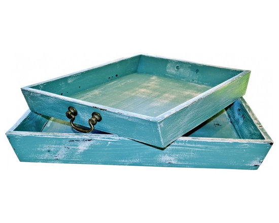 Nesting Trays - Vintage market green distressed nesting trays with brass handles.
