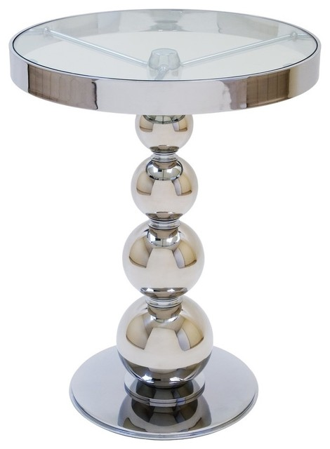 Allan Copley Designs San Juan 20 Inch Round Glass Top Side Table w/ Polished Chr modern-side-tables-and-accent-tables