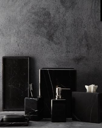 "Waterworks Studio ""Luna"" Black Marble Vanity Accessories traditional-toilet-accessories"