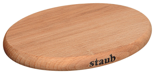 Staub Magnetic Wooden Trivet, Oval, Small traditional-oven-mitts-and-pot-holders