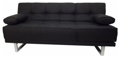 Tufted memory foam convertible sofa black for Foam convertible sofa bed