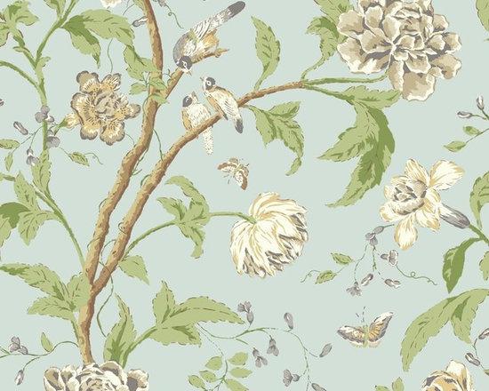 Blue Backwashed Teahouse Floral Vibe Wallpaper -