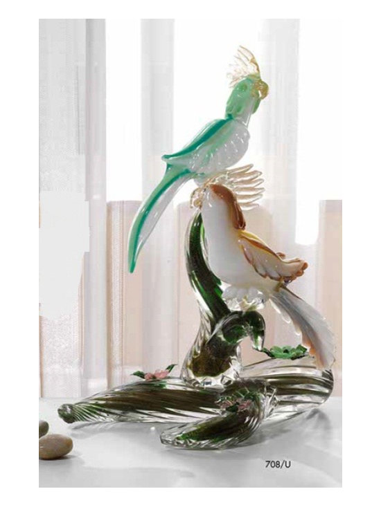 Murano Glass Sculptures and Figurines - Murano Glass parrots on branch - COA and made to order.  More available so please contact us