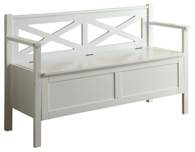 Monarch Specialties Transitional Solid Wood Bench With Storage In White Traditional Indoor