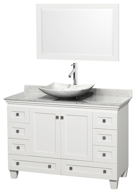 "48"" Acclaim White Single Vanity w/ White Carrera Top & White Carrera Marble Sink modern-bathroom-vanities-and-sink-consoles"