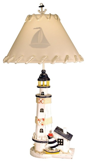 Coastal Lighthouse with Sailboat Table Lamp traditional-table-lamps