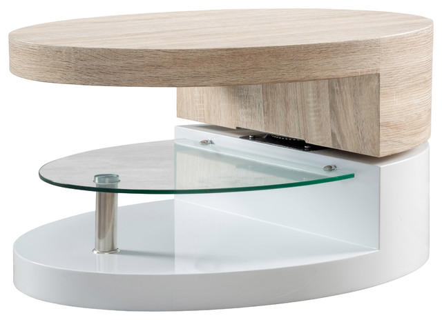 Oval Mod Swivel Coffee Table With Glass Modern Coffee Tables By Great Deal Furniture