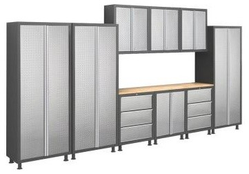 NewAge Products Garage Cabinet. Bold Diamond Plate Series 14 ft. Welded 23 Gage - Contemporary ...
