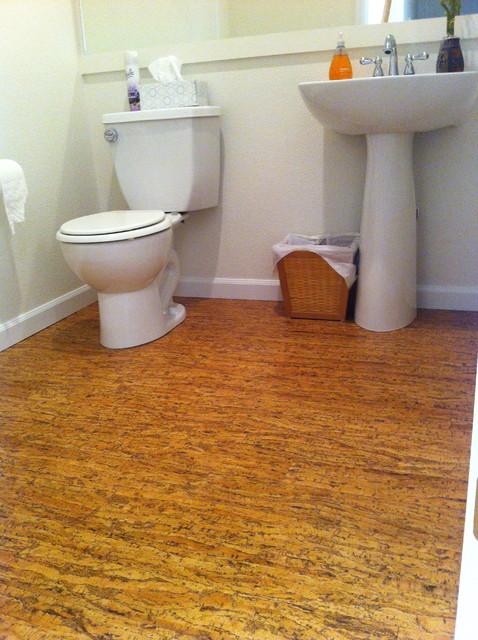 Cork floor contemporary hardwood flooring denver for Bathroom designs cork