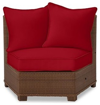 Palmetto All-Weather Wicker Rounded Armless Chair Cushion Slipcover, Cherry Red traditional-outdoor-chairs