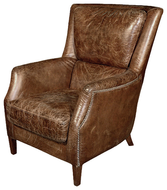 Chelsea Classic Man's Room Distressed Cigar Leather Arm Chair transitional-accent-chairs