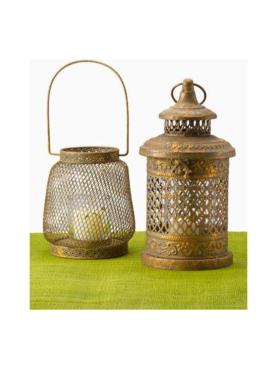 Antiqued Gold Leaf Lantern -