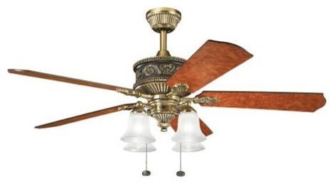 "52"" Corinth 52"" Ceiling Fan Burnished Antique Brass midcentury-ceiling-fans"