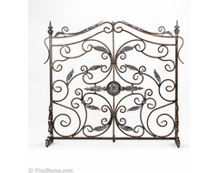 Bronze and silver fireplace screen traditional-fireplace-accessories