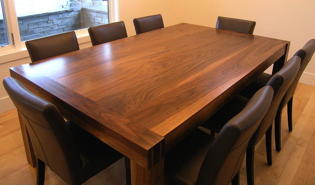 Solid walnut handmade dining room table by innovative for Dining room tables handmade