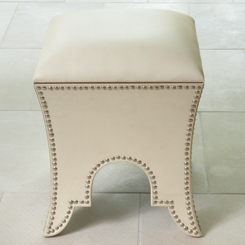 Moroccan Cowhide Leather Poof in Beige Leather footstools-and-ottomans