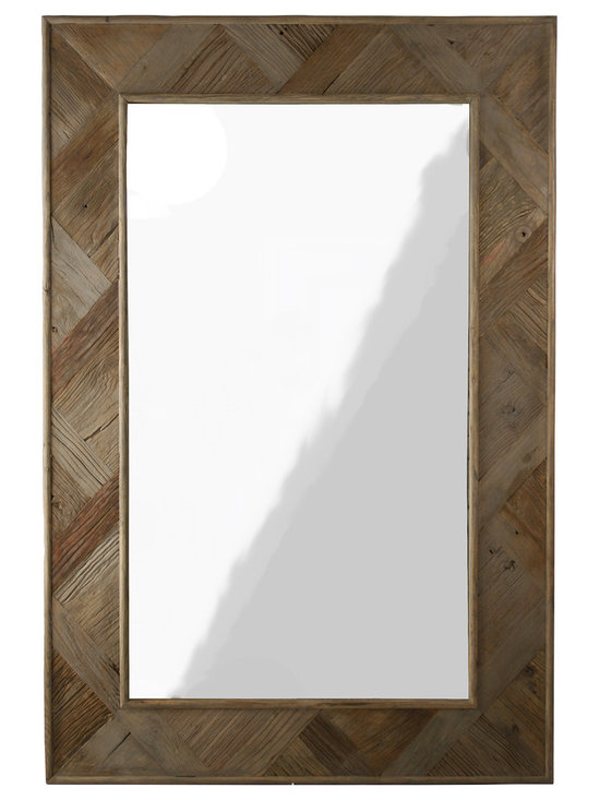 Zentique - Zentique Gent Mirror - Simple and rustic, the Gent mirror by Zentique accents a wall with the earthy texture of its recycled elm wood frame. Designed with graduations of color and a unique v-shaped wood pattern, this understated mirror naturally enhances a bedroom, living room or foyer.