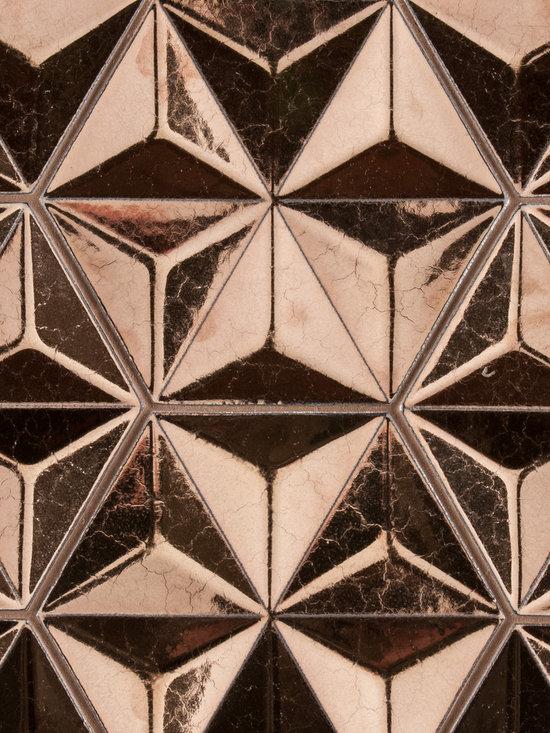"Ceramic - ANN SACKS Ogassian 8"" japanese geo ceramic field in metallic antique gold"