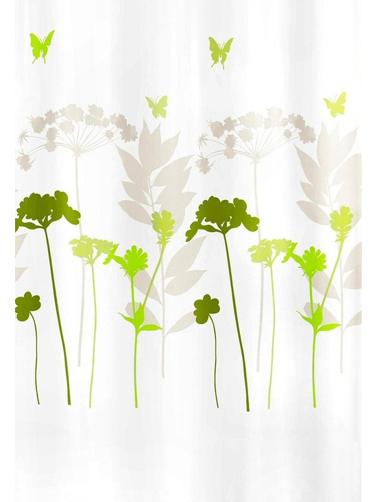 Fabric Shower Curtain - Barcelona, Clover Green - Wake up to a field of flowers and butterflies. This fabric shower curtain has a white background with a colorful design in your choice of color schemes — either bright berry, lavender and gray or clover, yellow-green and gray.