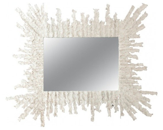 ecofirstart - white plaster painted mirror 1950's - This mirror is designed from the influence of MARCELLO FANTONI (1915-2011) Italy. Born in Florence, Marcello Fantoni registered at the Institute of Art at Porta Romana in 1927 to attend the course The Art of Ceramics. He graduated in '34 as a 'maestro' of art, and began working as a ceramist. In 1936 he established the Fantoni Ceramic studio. Its production of serial and unique pieces had remarkable success at the Florentine Arts and Crafts Exhibit in '37. Between '50 and '70, the success of his work continued to increase, his unique pieces of sculpture and vascular formations, characterized by a design in step with the contemporary artistic currents, like archaic stylization inspired by Etruscan models, rendered modern because of their modern handling of materials, glazes and colors. Starburst mirror 1950's Torched bronze and white plaster painted finish. This mirror has great style and character.
