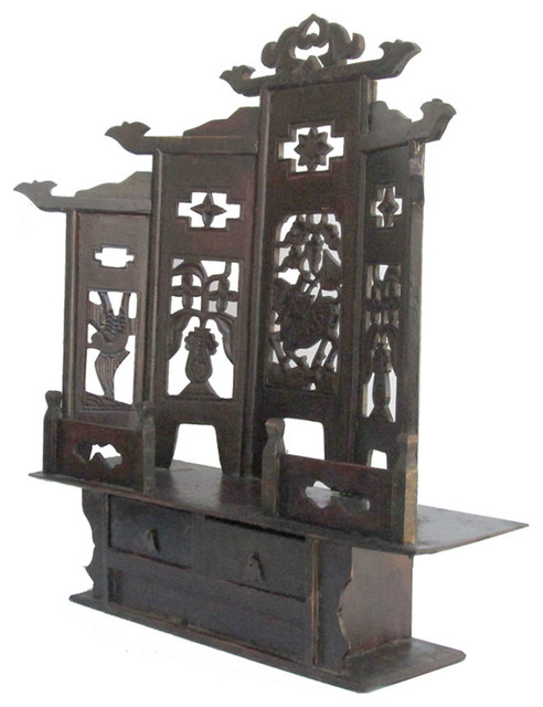 ... Carving Mini Buddha Display Cabinet asian-storage-units-and-cabinets