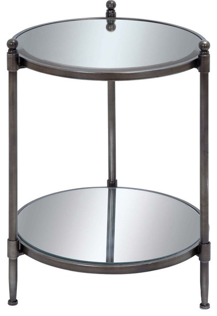 Mirror Accent Table with Metal Framework traditional-side-tables-and-end-tables