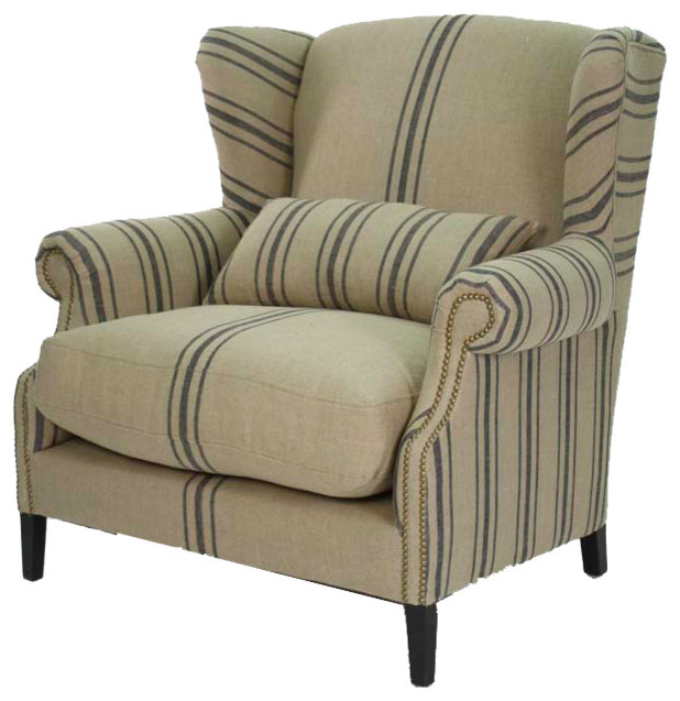 Navy High Wingback Accent Chair With White Stripe: Navy Striped Half Wingback Chair