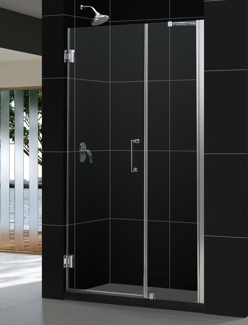 """UNIDOOR Frameless 48-49"""" Adjustable Shower Door Brushed Nickel modern-showers"""