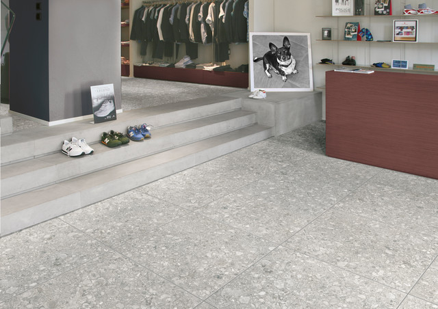 Affordable Ceramic Tile In A Traditional Living Room Retro Porcelain Terrazzo Tile Traditional Living Room Other