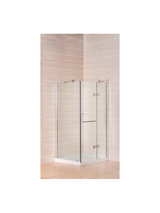 "Aston Global 40"" x 32"" Frameless Shower Enclosure with Shower Base in Chrome Fin - Frameless, hinged shower enclosure with fiberglass-reinforced acrylic shower base included"