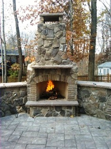 Stamped Concrete Fireplaces : Stone fireplace with stamped concrete patio
