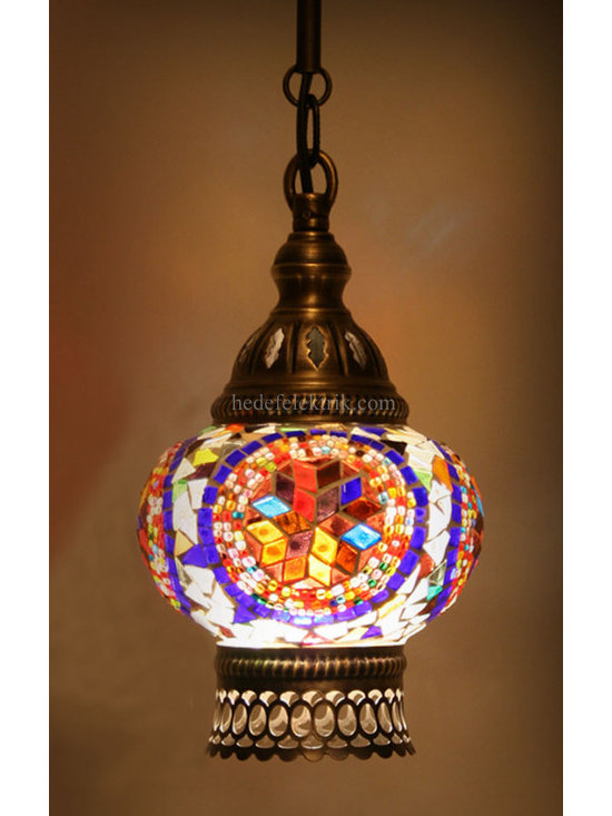 Turkish Style Mosaic Pendant Lamp 12 cm - Mosaic lamps are made of original colour of glasses. When the lamp is lit, the glasses cause colorful shades, which can suddenly change the ambiance of a room by its inspiring view. Noe of the glasses are painted nor applied a transaction. Each parts of the lamp are handmade.