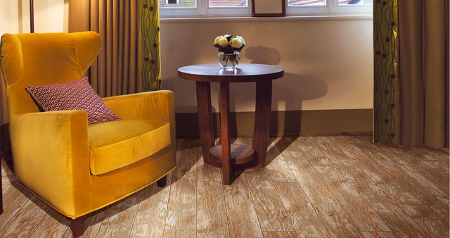 Living room wood looks contemporary wall and floor - Wood look ceramic tile in living room ...