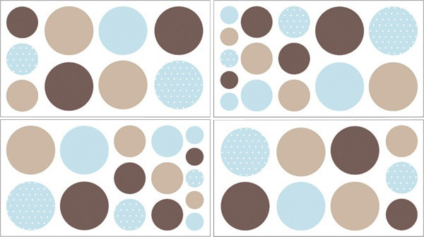 Mod Dots Blue and Chocolate Wall Decal Set of 4 Sheets by Sweet Jojo Designs traditional-kids-decor