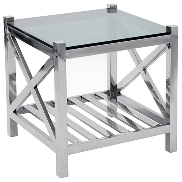 Glass silver metal side table transitional side tables and end tables