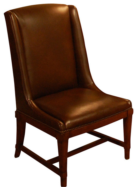American Drew Laurel Springs Leather Side Chair in Aged Bourbon, Set of 2 traditional-chairs
