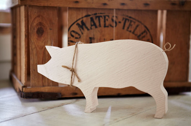 Wood pig modern home decor by carol ridler hand for Pig decorations for home