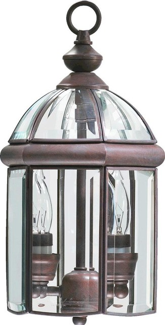 Two Light Cobblestone Hanging Lantern traditional-outdoor-lighting