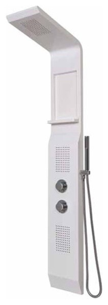 Flax Thermostatic Shower Panel - White with two inset body jets Rectangular inse modern-showers