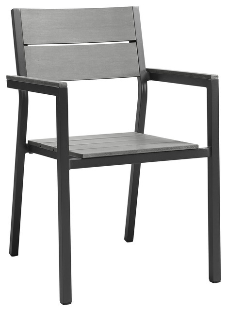 Maine Dining Outdoor Patio Armchair Brown Gray Contemporary Outdoor Dini