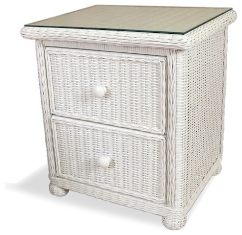 Wicker 2 Drawer Nightstand - Elana - Traditional - Nightstands And Bedside Tables - by Wicker ...