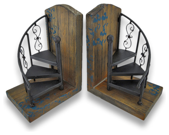 Metal Spiral Staircase Decorative Bookends Set Of 2