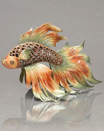 Jay Strongwater Namiko Japanese Fighting Fish Figurine traditional-artwork